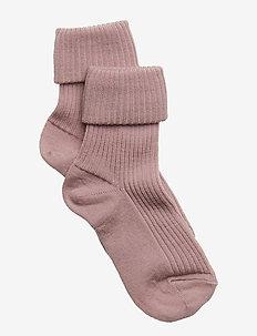 Rib wool baby socks - strømper - 188/wood rose