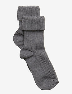 ANKLE WOOL RIB TURN DOWN - 491/GREY MARLED