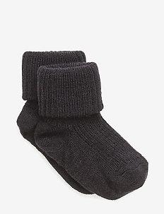 Rib wool baby socks - strømper - 66/navy