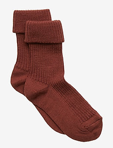 ANKLE WOOL RIB TURN DOWN - DARK BRICK