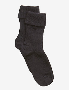 ANKLE WOOL RIB TURN DOWN - skarpetki - navy