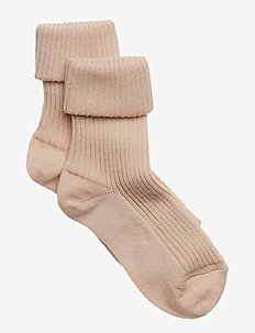 ANKLE WOOL RIB TURN DOWN - skarpetki - rose