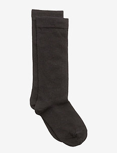 Plain cotton knee socks - sockor - 8/black