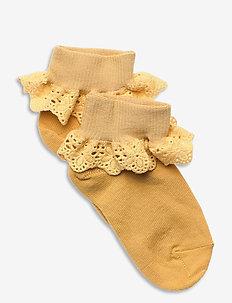 Cotton socks with lace - skarpetki - yellow