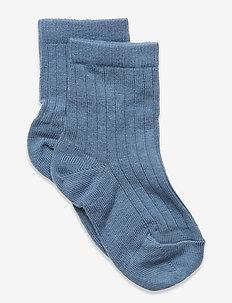 Cotton rib socks - strømper - blue
