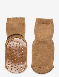 Cotton socks with anti-slip - skarpetki antypoślizgowe - brown