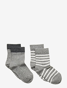 ANKLE MILO 2pk 77184 + 77185 - socks - grey marl.