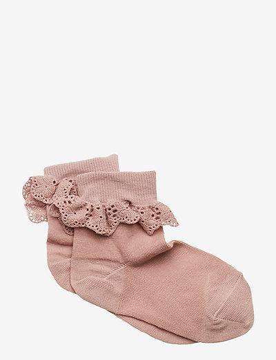 Cotton socks with lace - skarpetki - wood rose