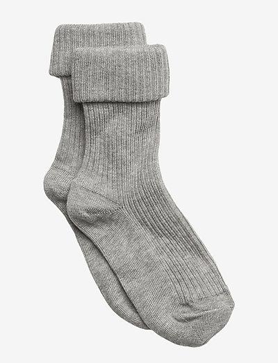 Cotton rib baby socks - skarpetki - grey marl.