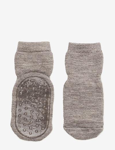 Wool socks with anti-slip - skarpetki antypoślizgowe - 202/light brown