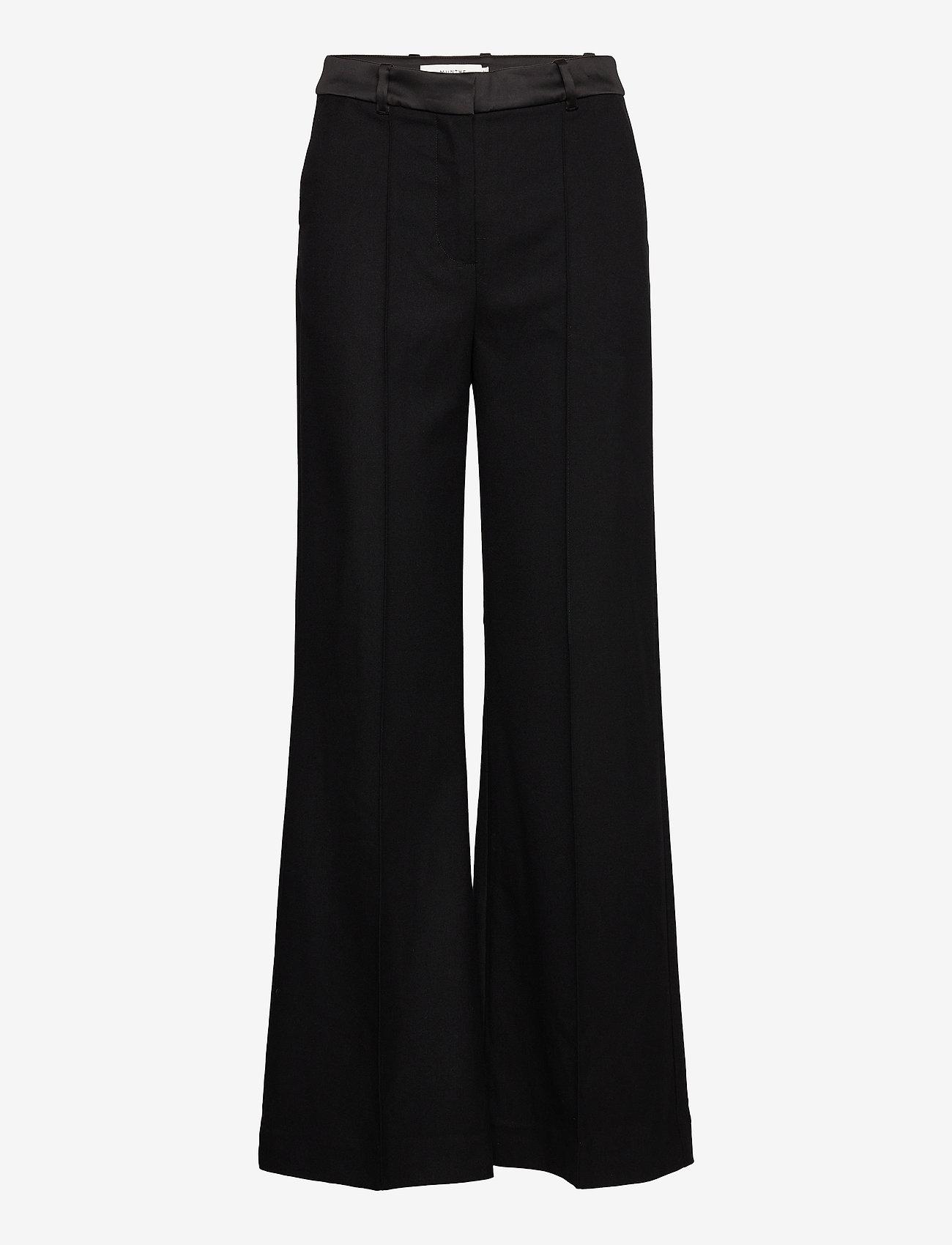 Munthe - LEAF - bukser med brede ben - black - 1