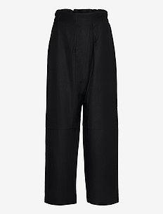 LESS - leveälahkeiset housut - black