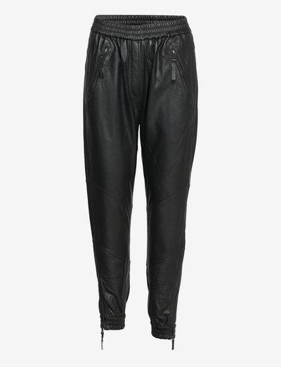 DEMI - pantalons en cuir - black