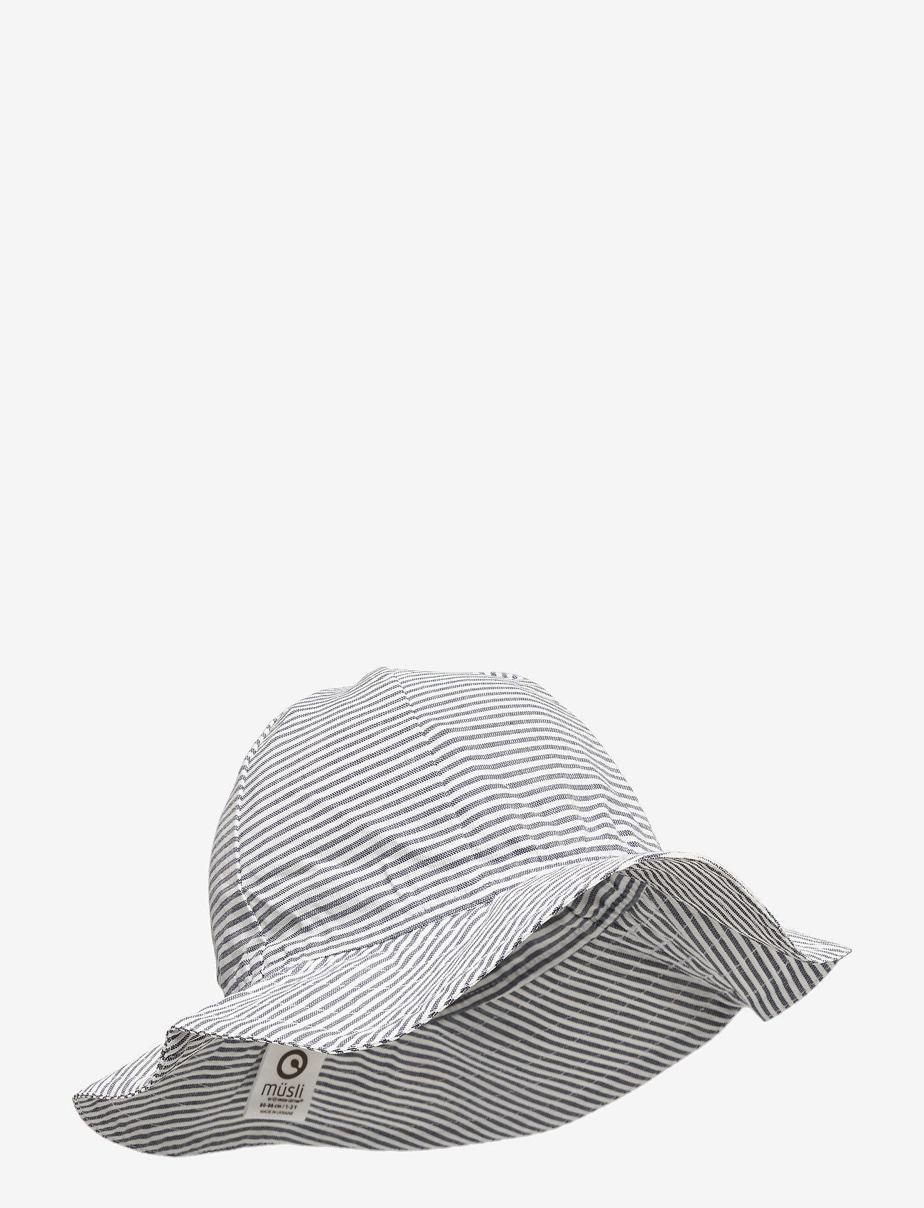 Müsli by Green Cotton - Woven stripe beach hat - huer & kasketter - white/blue stripe - 0