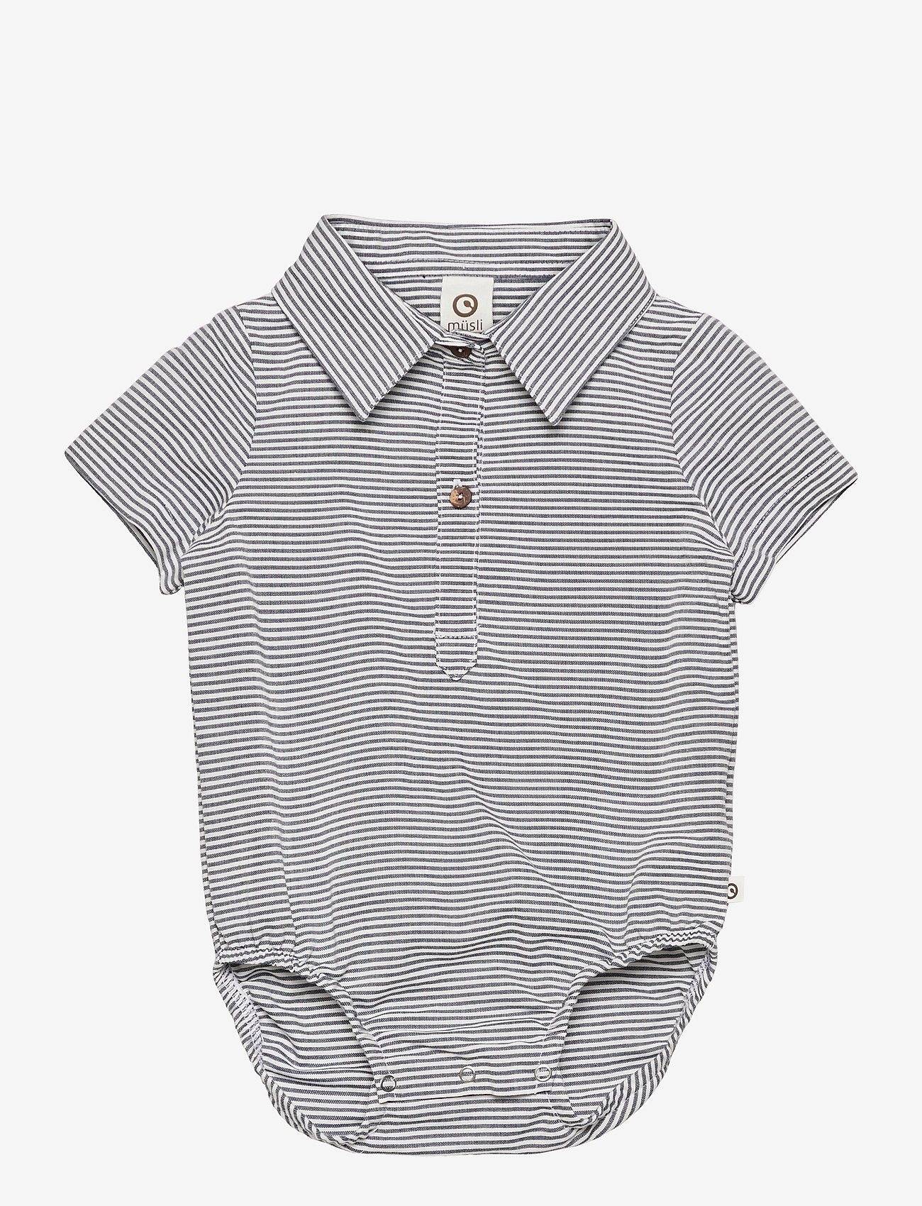 Müsli by Green Cotton - Woven stripe s/s body - kurzärmelige - white/blue stripe - 0