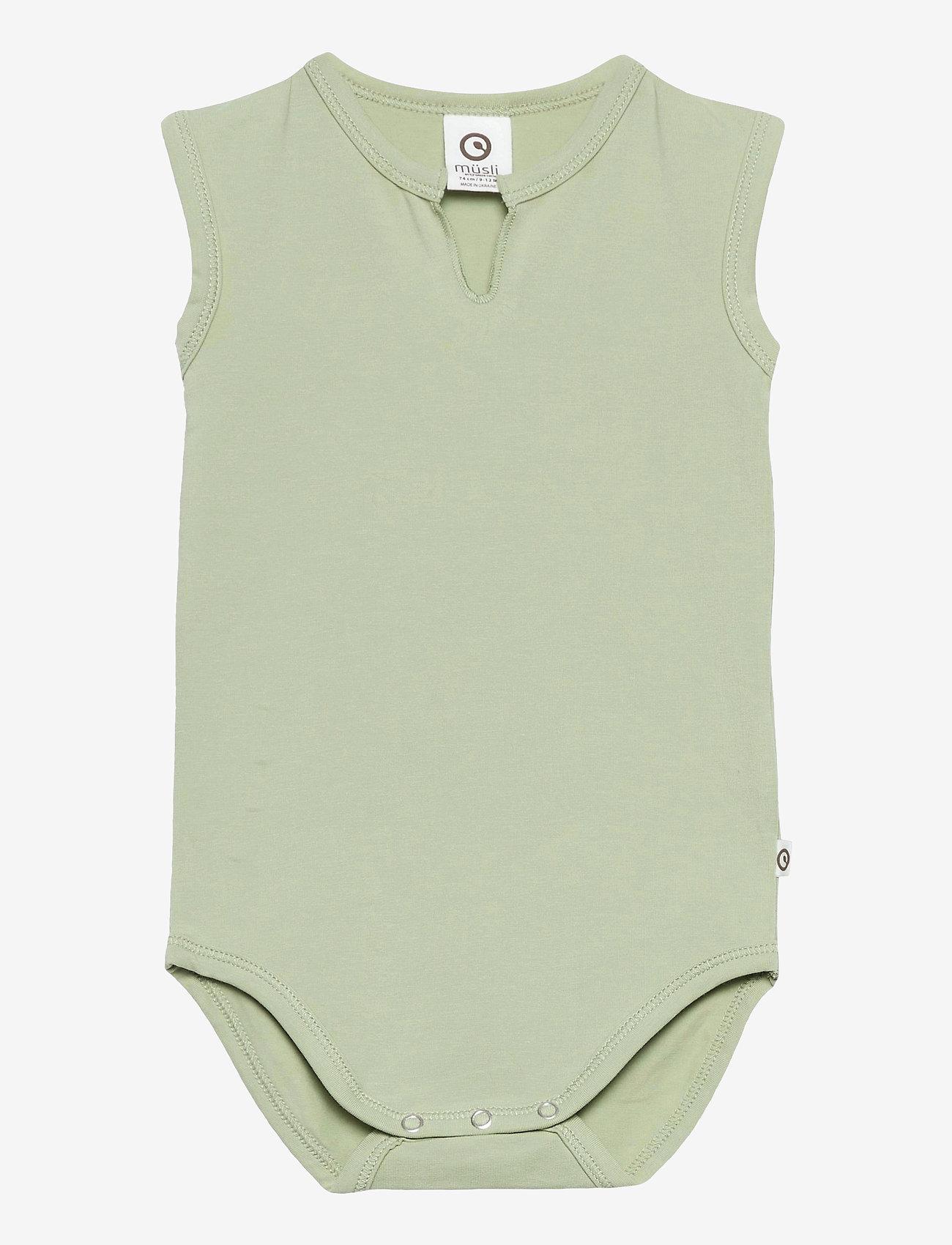 Müsli by Green Cotton - Cozy me sleeveless body - kurzärmelige - pale moss - 0