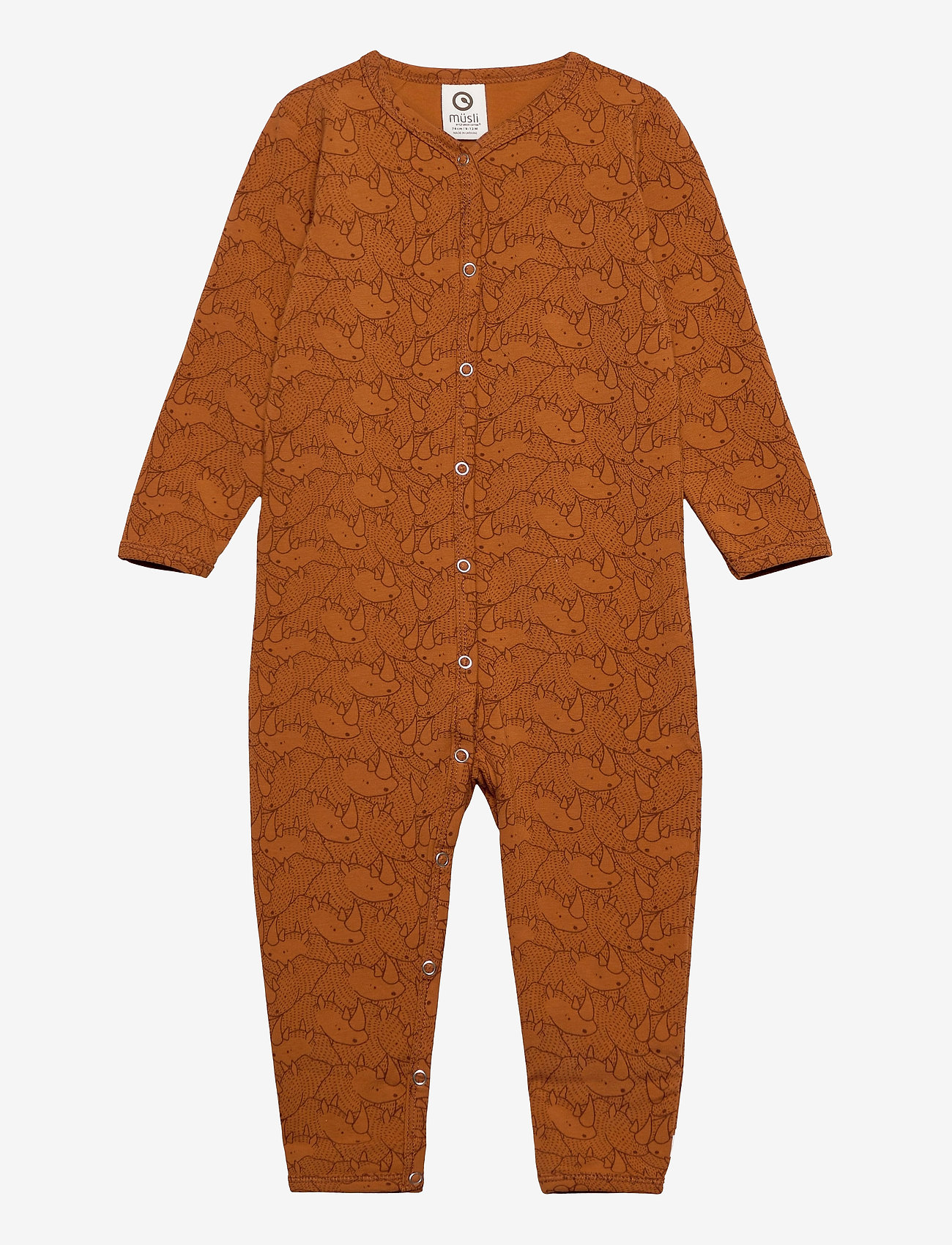 Müsli by Green Cotton - Rhino bodysuit - langärmelig - ocher - 0