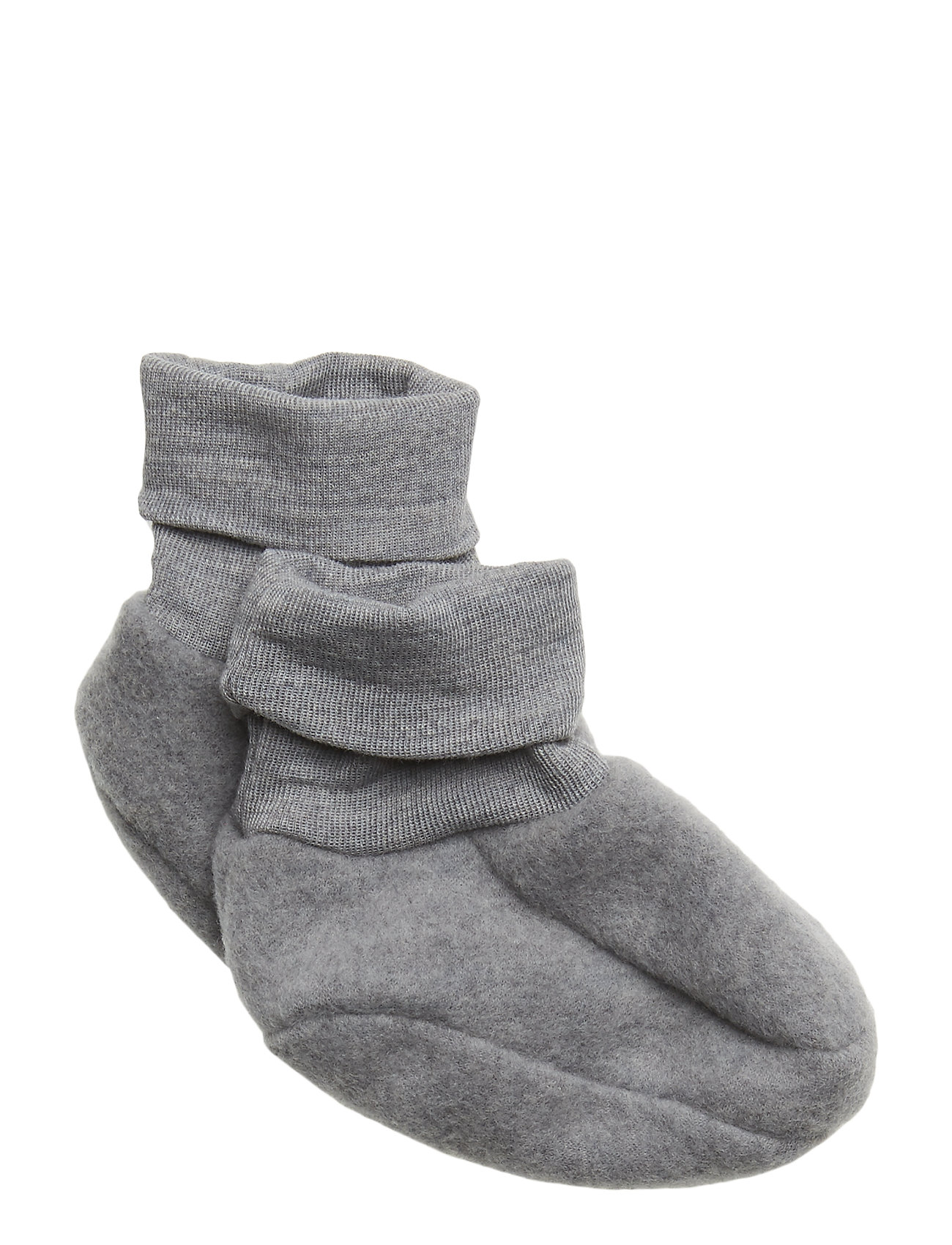 Müsli by Green Cotton Woolly fleece booties - PALE GREYMARL