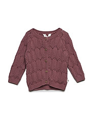 Knit sweater with leaf Baby - DUSTY BERRY