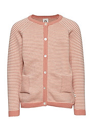 Knit stripe cardigan - DARK PEACH