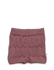 Knit shorts with leaf - DUSTY BERRY