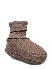 Woolly fleece booties - WALNUT