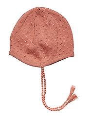 Knit dot hat - DARK PEACH