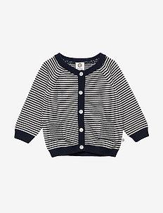 Knit stripe cardigan - NAVY