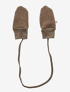 Woolly fleece mittens - WALNUT
