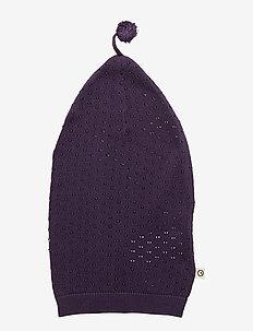 Knit dot ponpon hat - LAVENDER