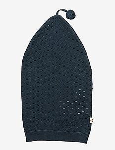 Knit dot ponpon hat - MIDNIGHT
