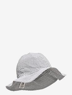 Woven stripe beach hat - sun hats - white/blue stripe