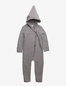 Woolly fleece suit with hood - PALE GREYMARL