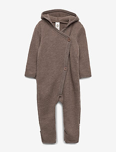 Woolly fleece suit with hood - WALNUT