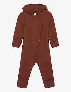 Woolly fleece suit with hood - fleece sets - fudge