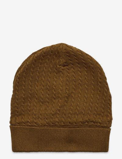 Knit beanie - hatte og handsker - pesto