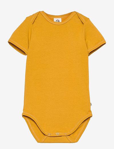 Cozy me s/sl body - einfarbige kurzärmelige bodys - mustard