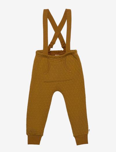 Quilt suspender pants baby - vinterbukser - pesto
