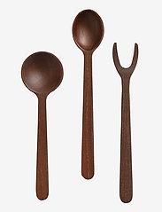Muubs - Tapas set 3-pcs. Yami - salatbestikk - brown - 0