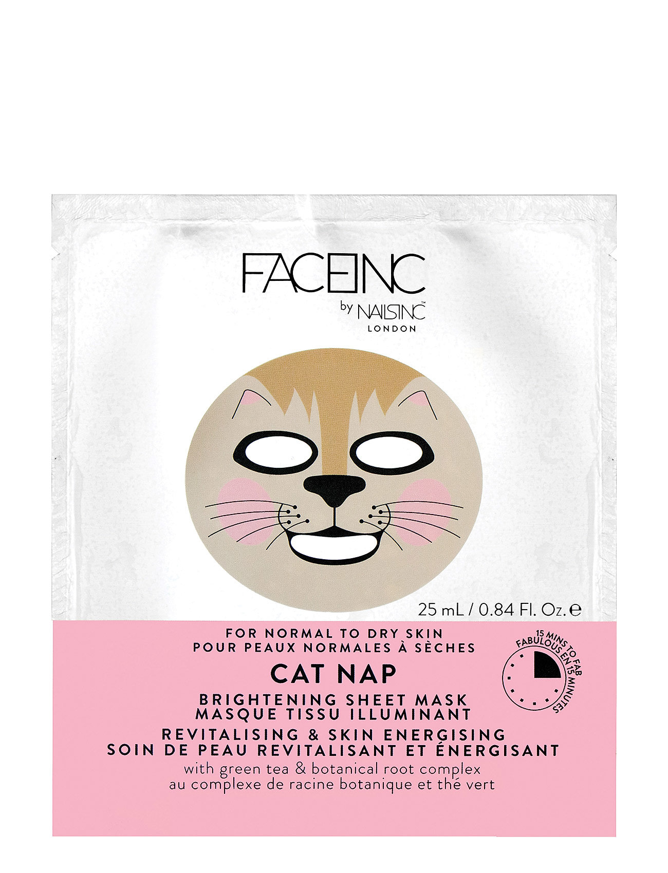 Nails Inc Cat Nap Sheet Mask - Brightening - CLEAR