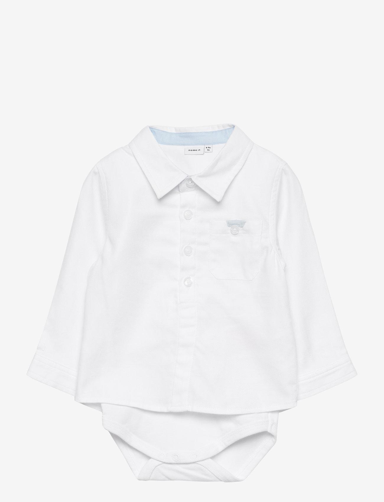 name it - NBMFINWHALE LS SHIRT BODY BOX - langärmelig - bright white - 0