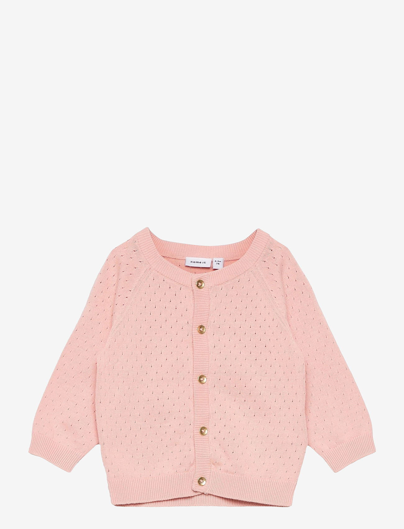 name it - NBFDESMOLLY LS KNIT CARD - gilets - peach whip - 0