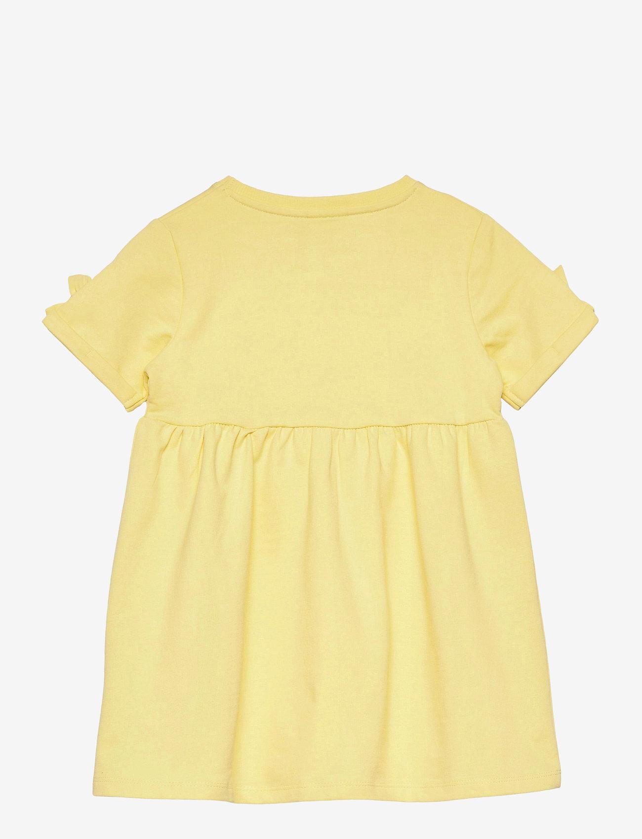 name it - NMFFARHANA LIGHT SWEAT DRESS UNB - kleider - yellow pear - 1