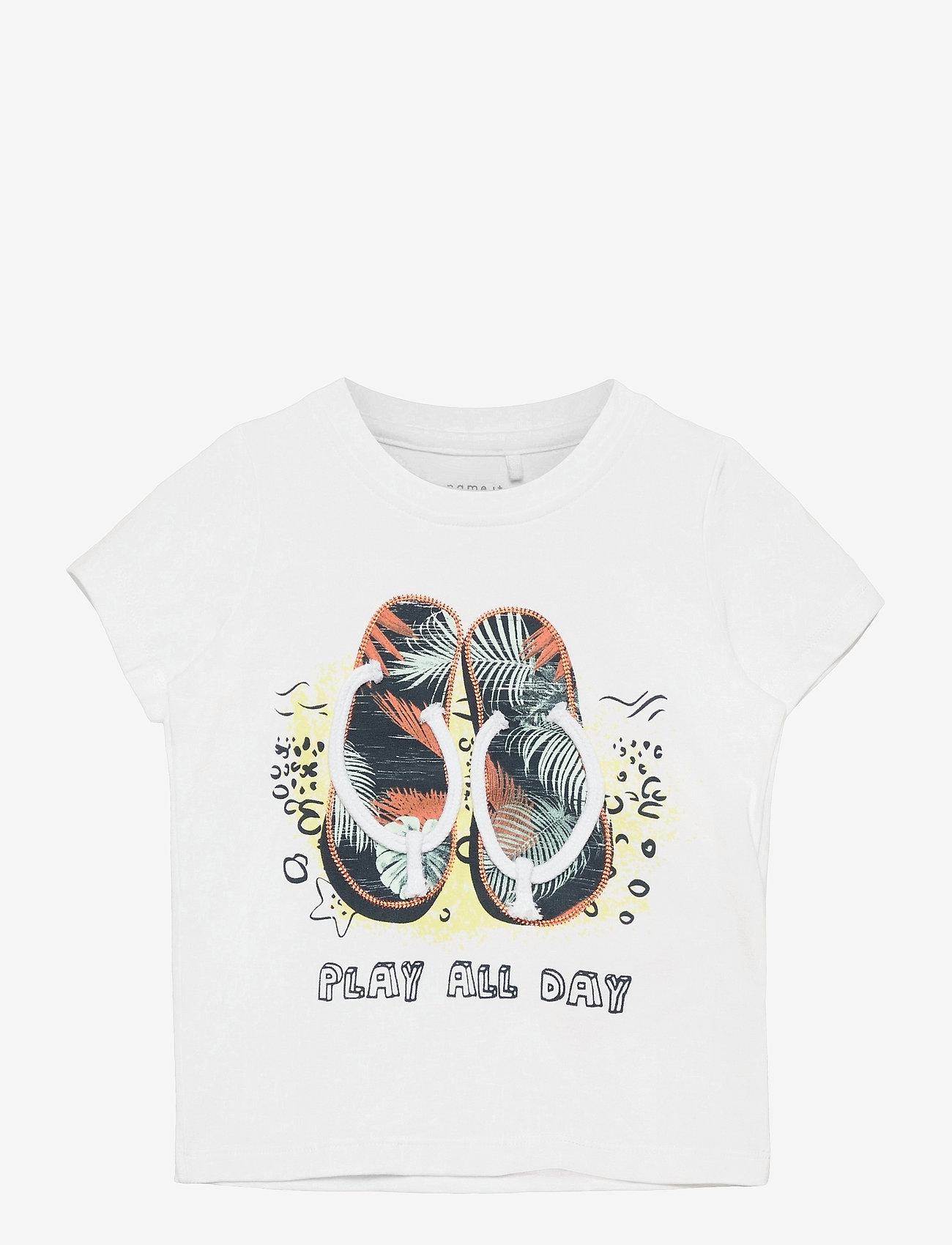 name it - NMMFASHO SS TOP BOX - t-shirts - bright white - 0
