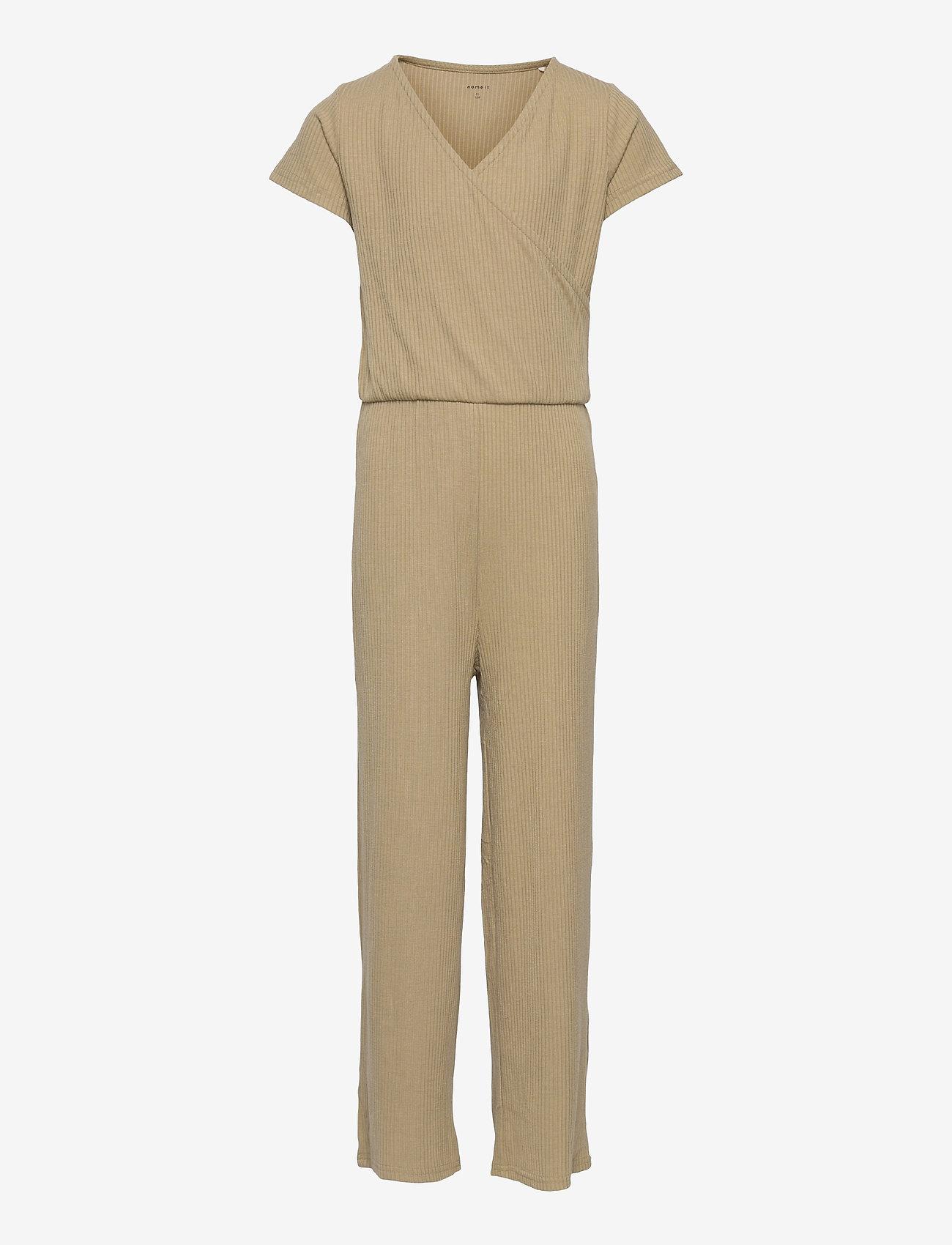name it - NKFDIWA SS WRAP SUIT - jumpsuits - silver sage - 0