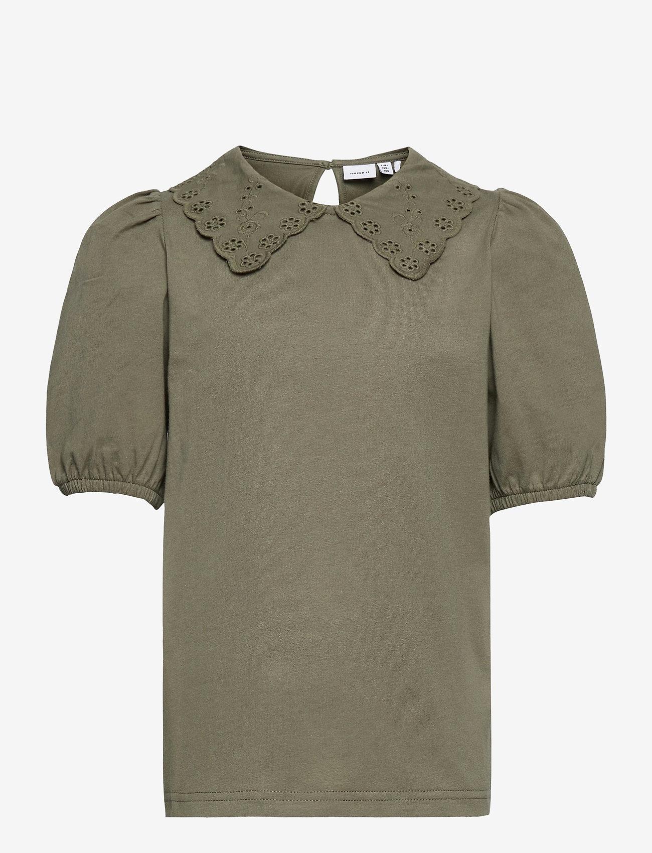name it - NKFHEIDIL SS TOP - t-shirts - deep lichen green - 0