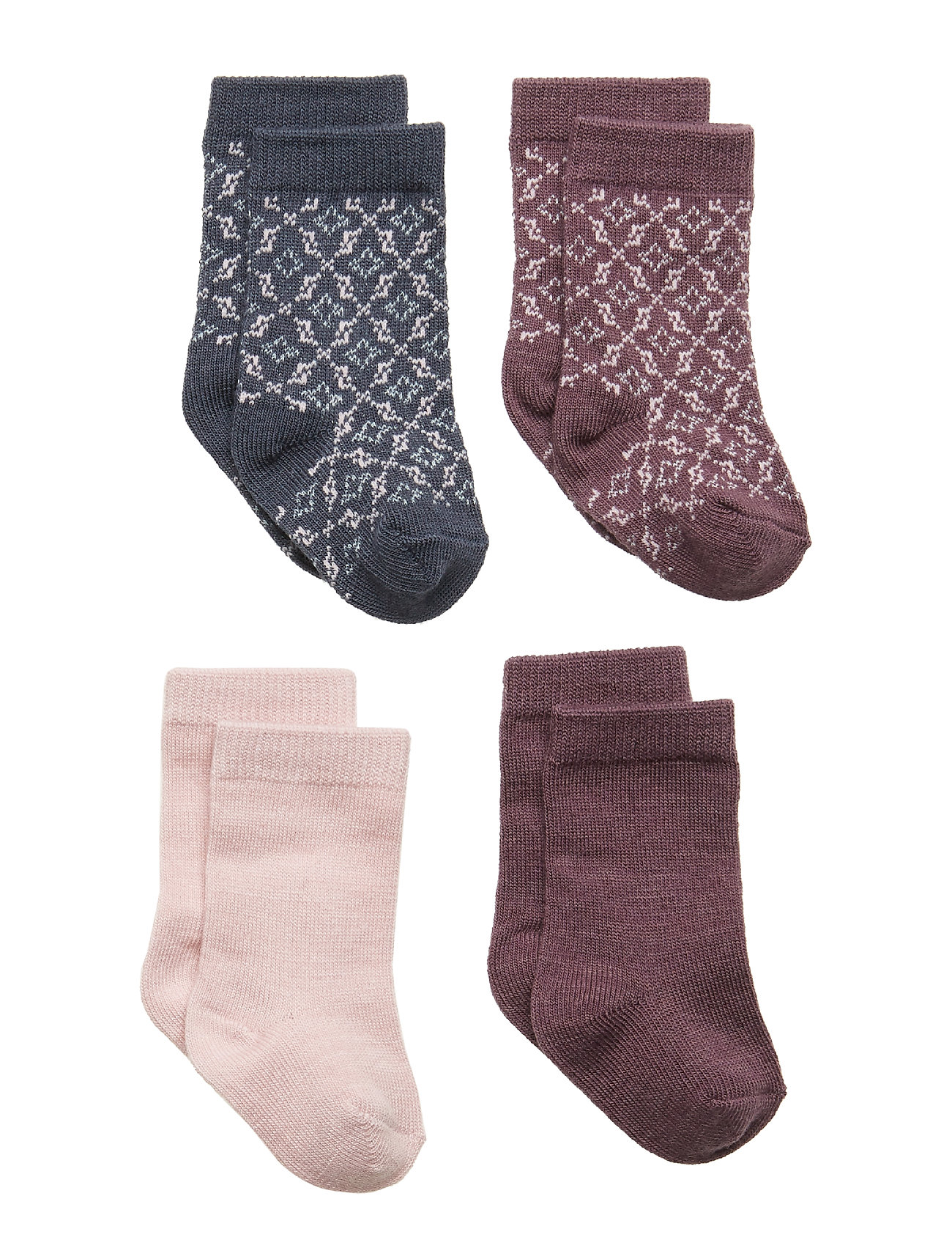 name it NBFWAK WOOL 4 PACK SOCK XIX - BURNISHED LILAC