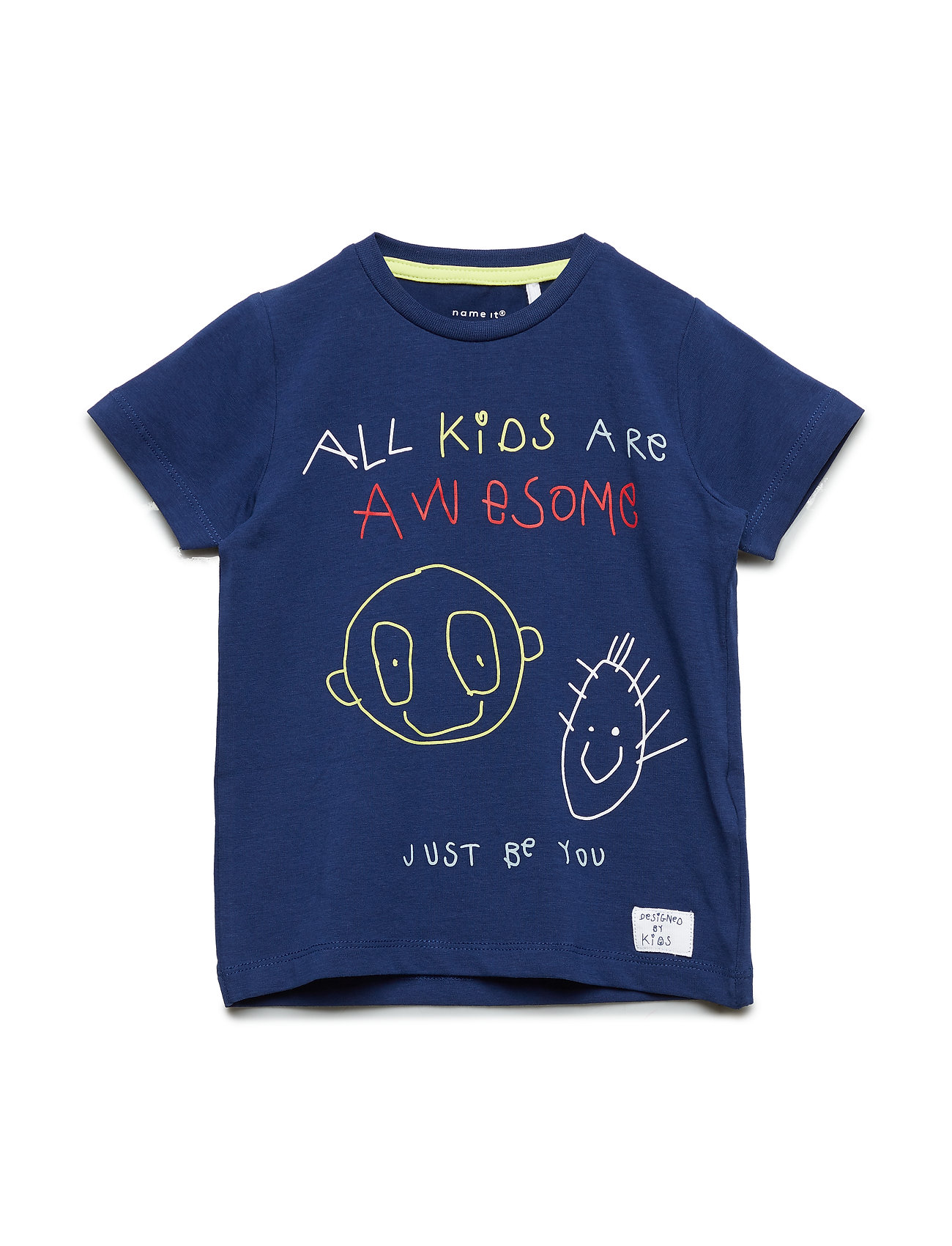 name it NMMKIDS SS TOP BOX - BLUE DEPTHS