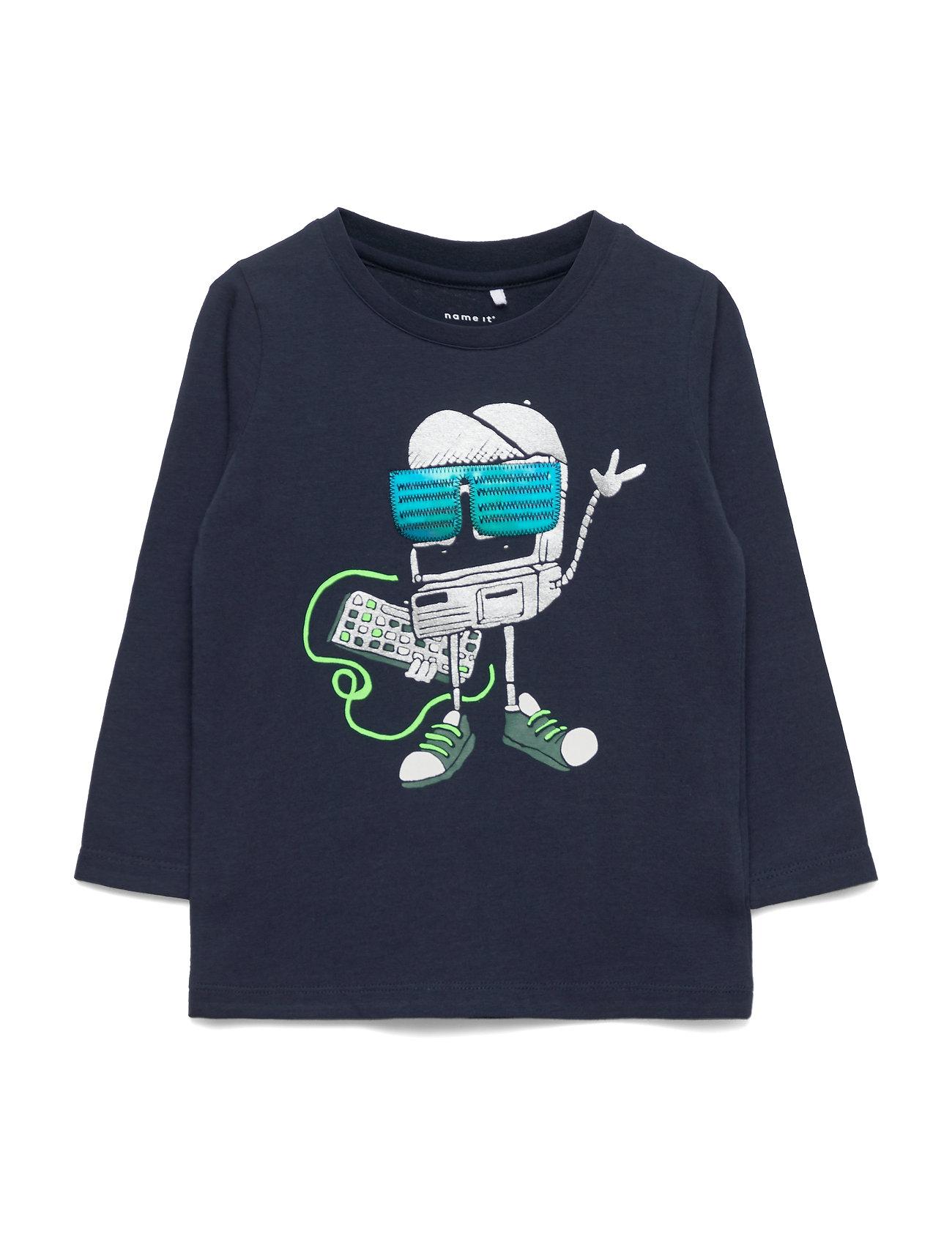 Image of Nmmbobotti Ls Top Box Langærmet T-shirt Blå Name It (3350046135)