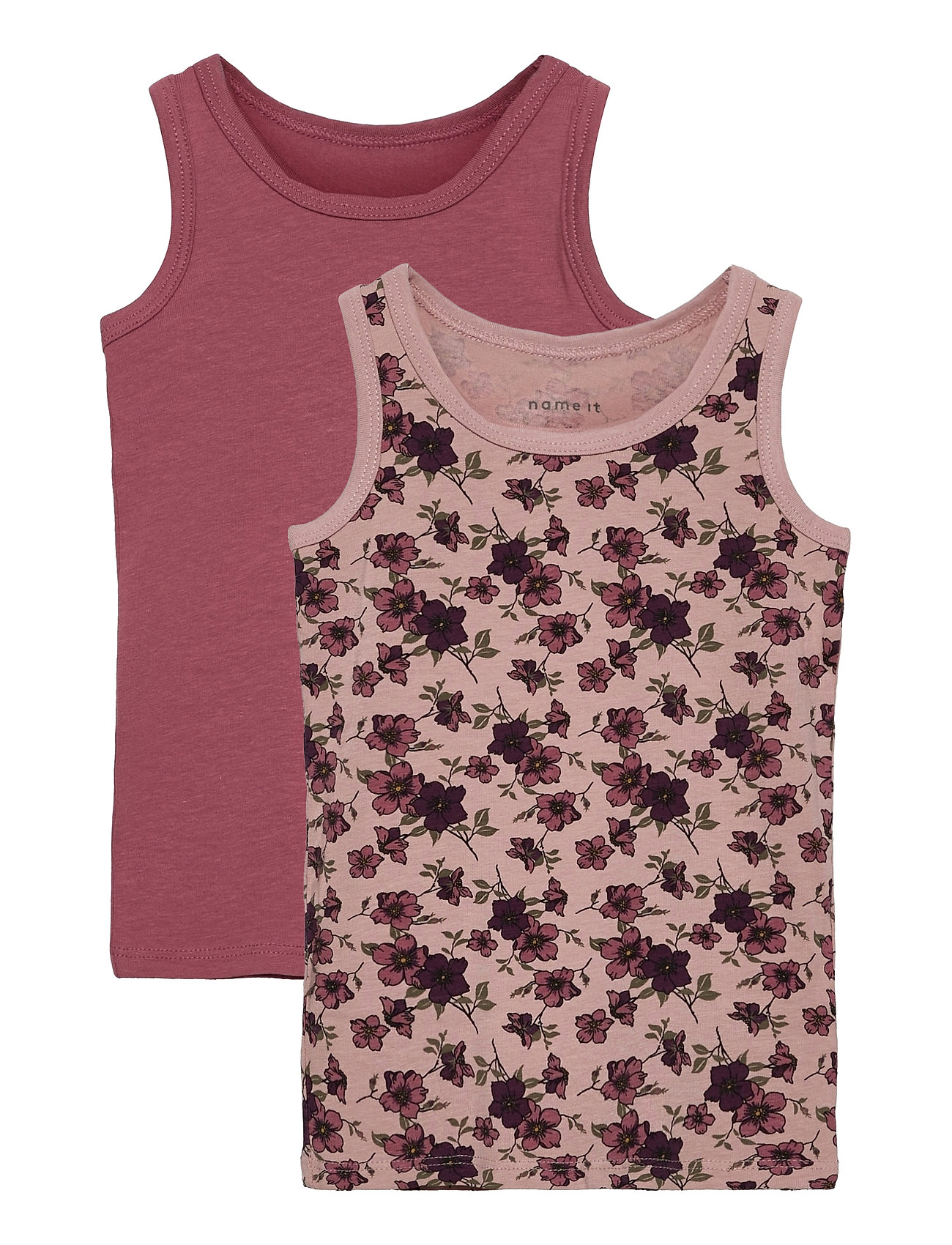 Nmftank Top 2p Deco Rose Flower T-shirt Ærmeløs Lyserød Name It